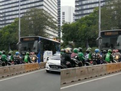 Viral Video Sejumlah Pemotor Nyuruh Busway Mundur dari Jalurnya