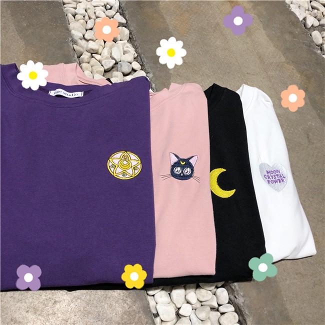 免運 現貨可愛少女小清新寬鬆顯瘦夏季刺繡美少女戰士上衣學院風休閒韓版簡約短袖T恤