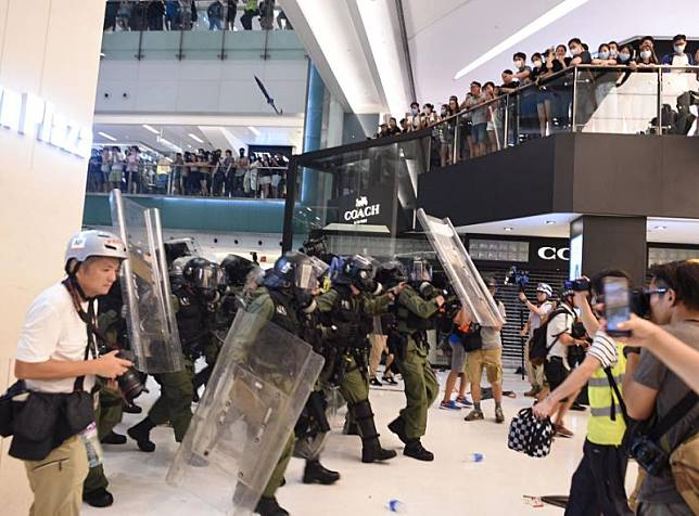 7月14日沙田區反修列遊行後,沙田新城市廣場爆發衝突事件。 資料圖片