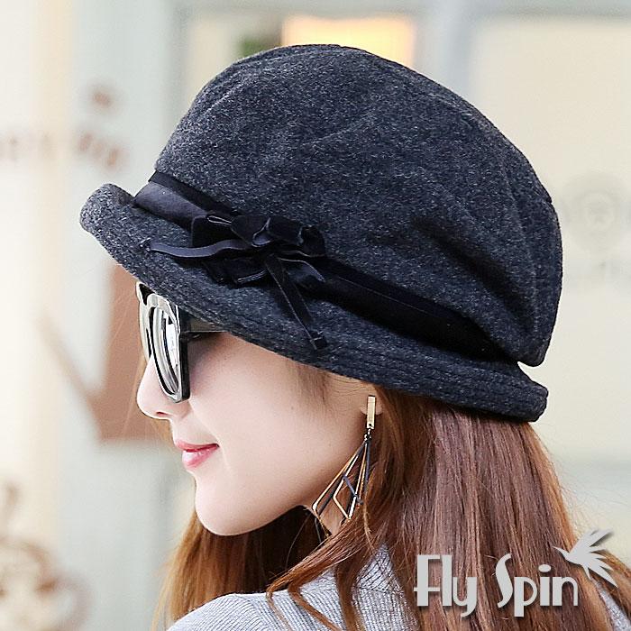 羊毛混紡毛呢時尚保暖南瓜貝蕾淑女冬帽(深灰)14AW-S009 FLY SPIN