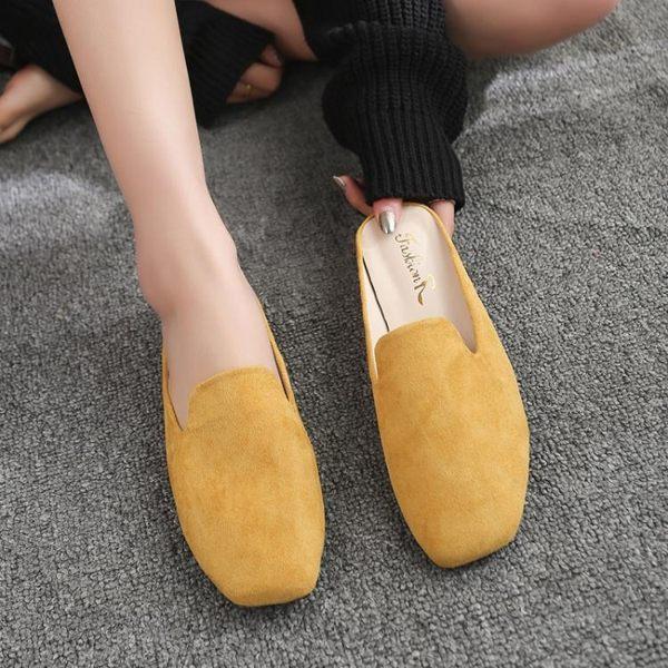 半包時尚拖鞋 網紅拖鞋外穿春季新款穆勒鞋子時尚粗跟中跟包頭半拖鞋