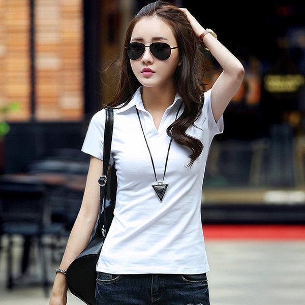 【GZ32】素T 韓版修身棉質短袖上衣 polo領v領短袖T恤