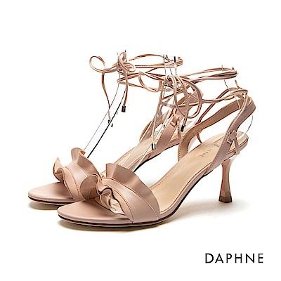 達芙妮DAPHNE 涼鞋-波浪荷葉邊細繩綁帶一字高跟涼鞋-粉紅