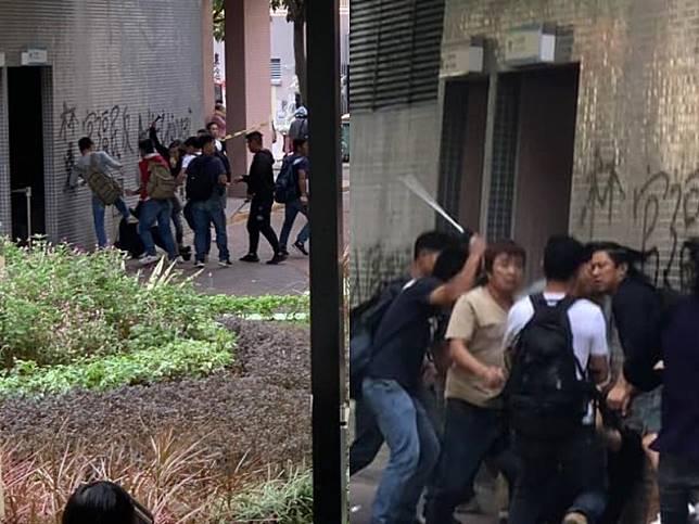 逾10人圍毆黑衣人。Spark • 撻著及網上圖片