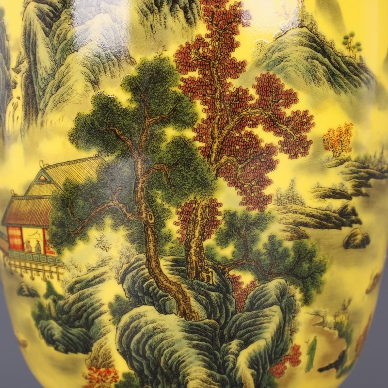清乾隆黃地粉彩山水人家冬瓜瓶仿古中式家居餐廳瓷器擺件古董古玩1入