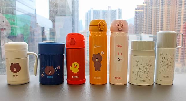 BROWN、CONY、SALLY款式的Thermos保溫產品。