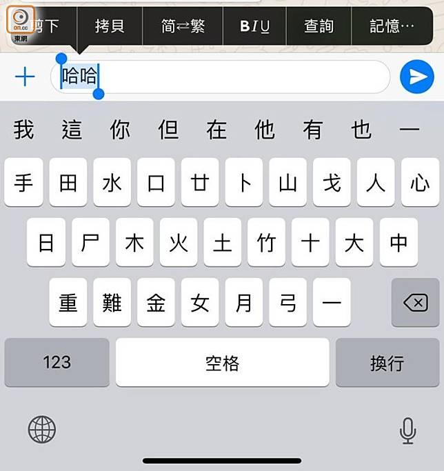 iOS版本選抹文字後,需要點選文字選項欄的「BIU」選項。(林子聰攝)