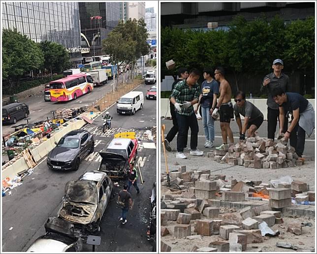 尖東海傍多車被燒毀,及市民自發在場搬走磚頭。