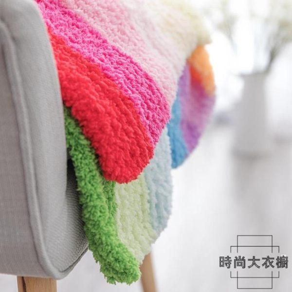 手工diy編織彩虹毯子材料包 雪妃爾絨絨線毛線寶寶嬰兒蓋被