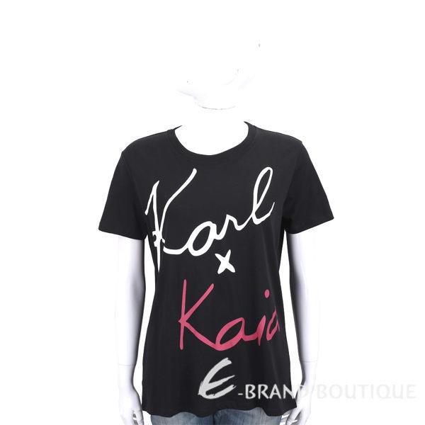 KARL LAGERFELD KARL x KAIA 簽名印花黑色棉質短T恤 1840569-01
