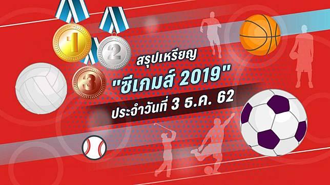 สรุปเหรียญ ซีเกมส์ 2019 ประจำวันที่ 3 ธ.ค. 62