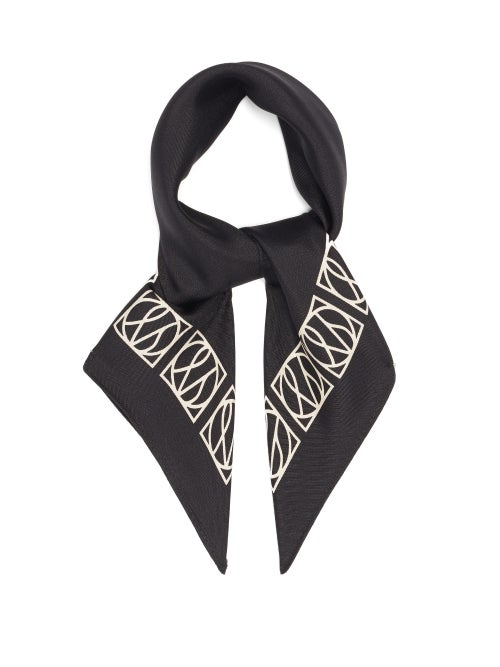 Lescarf - No. 20 Monogram-print Silk Scarf - Womens - Black Cream