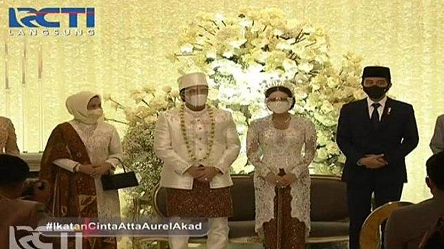Penampilan Jokowi dan Iriana di pernikahan Atta Aurel.