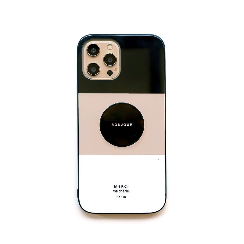奶茶黑色色塊支架玻璃手機殼