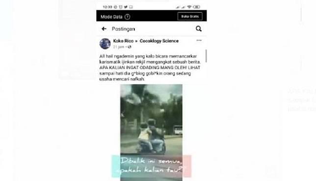 Video viral Ade Londok atau Mang Oleh Odading berkata kasar kepada pengendara motor. (Foto ist).