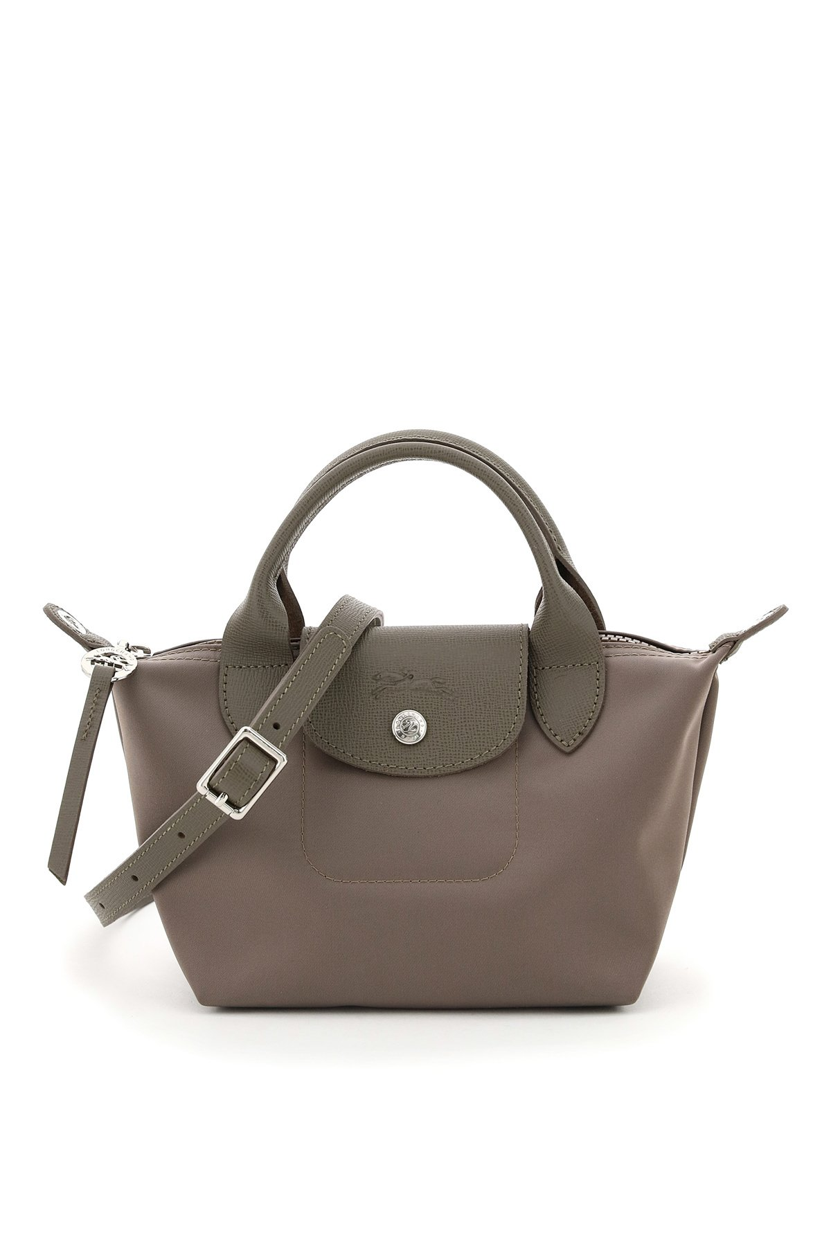 Le Pliage Néo mini tote bag in nylon fabric by Longchamp, with double leather handle, removable and