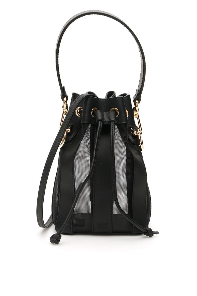 Fendi Mon Tresor mini bucket bag in leather and techno mesh with a striped construction, enriched by