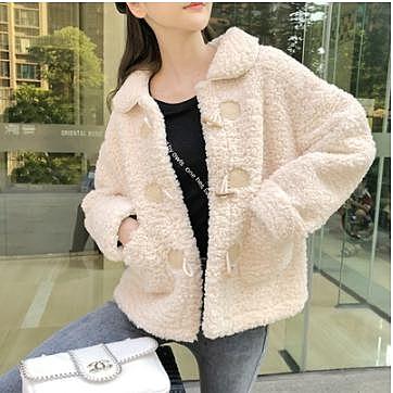小個子羊羔毛外套女短款年新款秋冬季韓版毛毛牛角扣厚羊羔絨