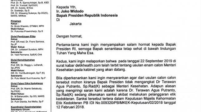 Surat MKEK IDI untuk Presiden Jokowi soal dr Terawan sebagai Menteri Kesehatan. (Dok. Suara.com/Istimewa)