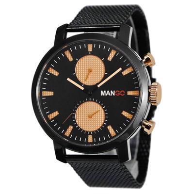 MANGO HOMME 魅力米蘭不鏽鋼時尚腕錶 黑/42mm