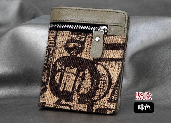男生帶拉鏈潮錢夾手包 新款韓版時尚帆布牛仔布短款錢包 休閑運動牛皮零錢包橫款皮夾