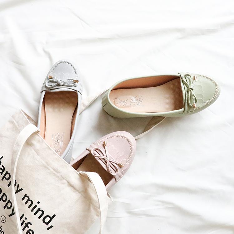 D+AF MIT蝴蝶結造型樂福豆豆鞋