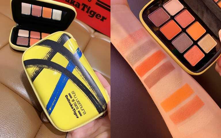 植村秀*Onitsuka Tiger set the motion eye palette眼彩盤(黃)/2,500元 以熱情的橘紅色系為主軸,很適合亞洲女生的偏黃膚色。(圖/吳雅鈴攝影)