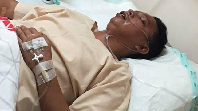 Korban penganiayaan yang pelakunya anak seorang bupati dirawat di salah satu rumah sakit di Pekanbaru.