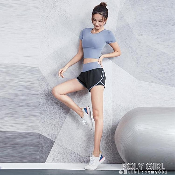 瑜伽服女夏天薄款速干衣性感短袖健身房運動套裝晨跑步網紅健身服