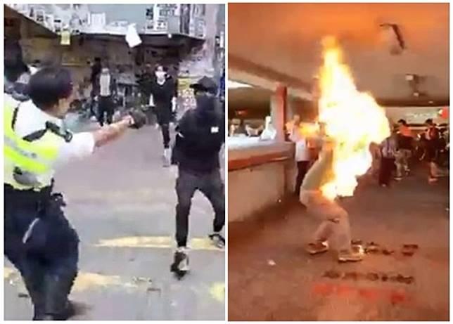 英外交部對香港周一的警員開槍(左)及市民被焚(右)事件深表憂慮。