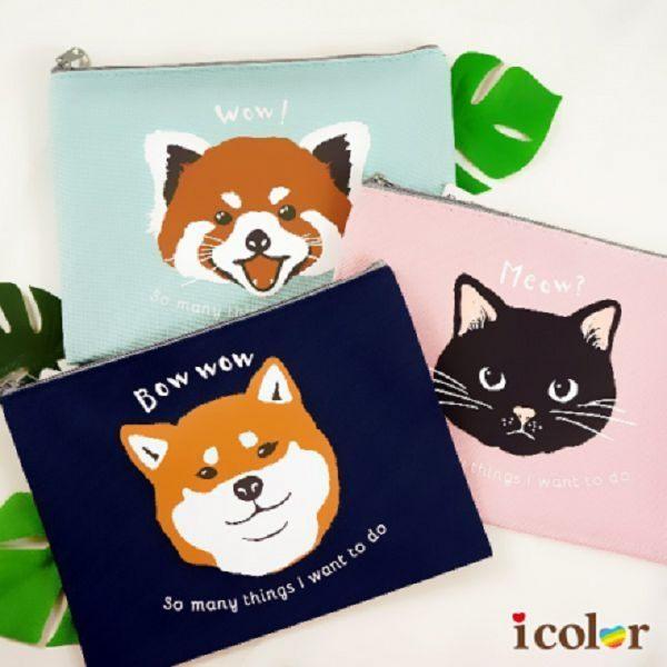 i color 動物方形萬用包 化妝包 收納袋(L)