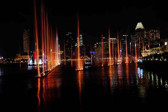 Water Show at Laser Spectra Show di Marina Bay Sands Singapura. Foto: TEMPO/Francisca Christy Rosana