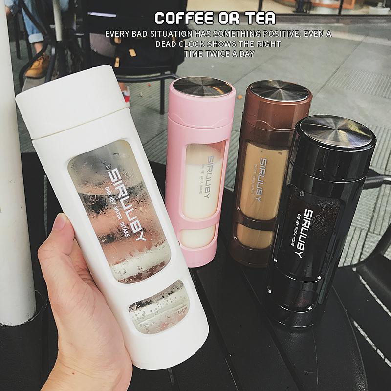 韓版簡約英文透明玻璃水瓶 大容量 防摔耐熱防燙 茶隔 過濾泡茶 便攜車載水杯 夢露時尚女裝