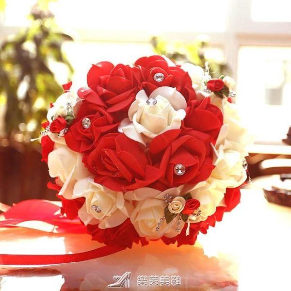 結婚慶用品手捧花仿真韓式新娘手捧伴娘姐妹團手花婚慶拍攝道具 樂芙美鞋