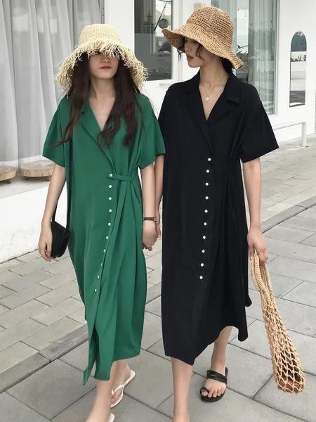 愛薔薇西裝領大碼胖mm連衣裙姐妹閨蜜裝2019新款夏原諒色裙子顯瘦