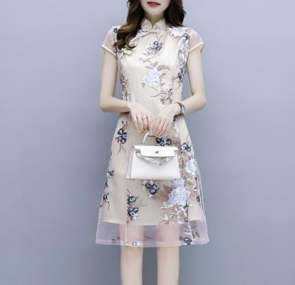 改良版旗袍式洋装2019新款夏款女低領時尚新式中國風連衣裙年輕款