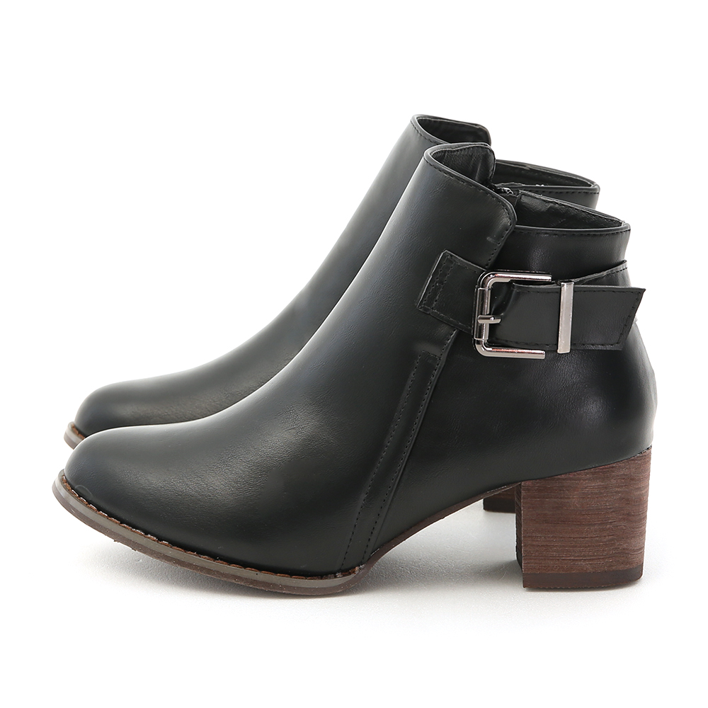 D+AF 百搭風格.質感側方釦中跟短靴