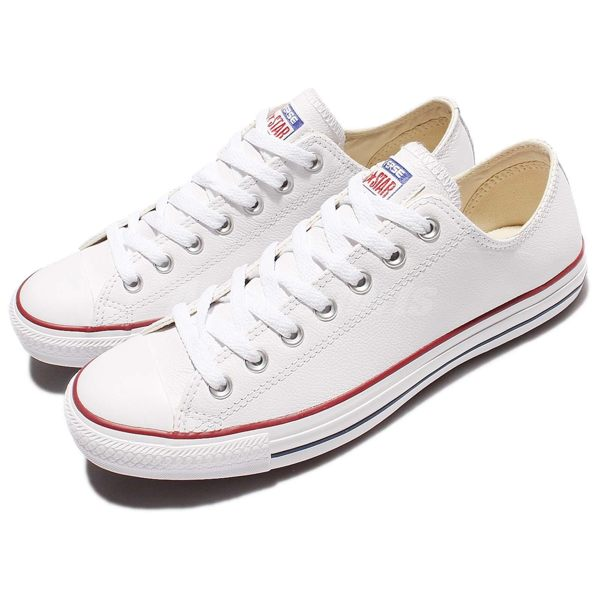 Converse Chuck Taylor All Star Leather 白 低筒 皮革 休閒 男鞋 女鞋【PUMP306】 132173C