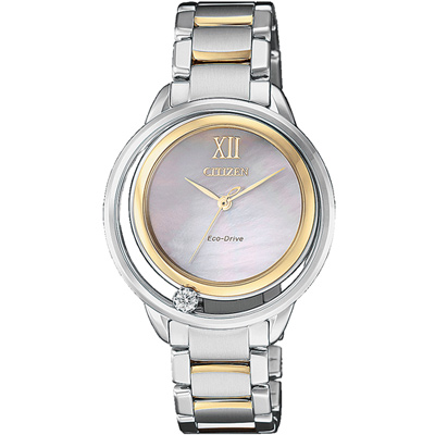 原廠公司貨單顆天然鑽石不鏽鋼錶殼、錶帶雙圓環綴飾錶框設計球面藍寶石水晶鏡面料號:EW5514-87D