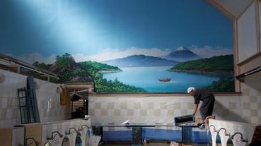 全國只餘下三位的錢湯壁畫繪師,示範繪製壁畫