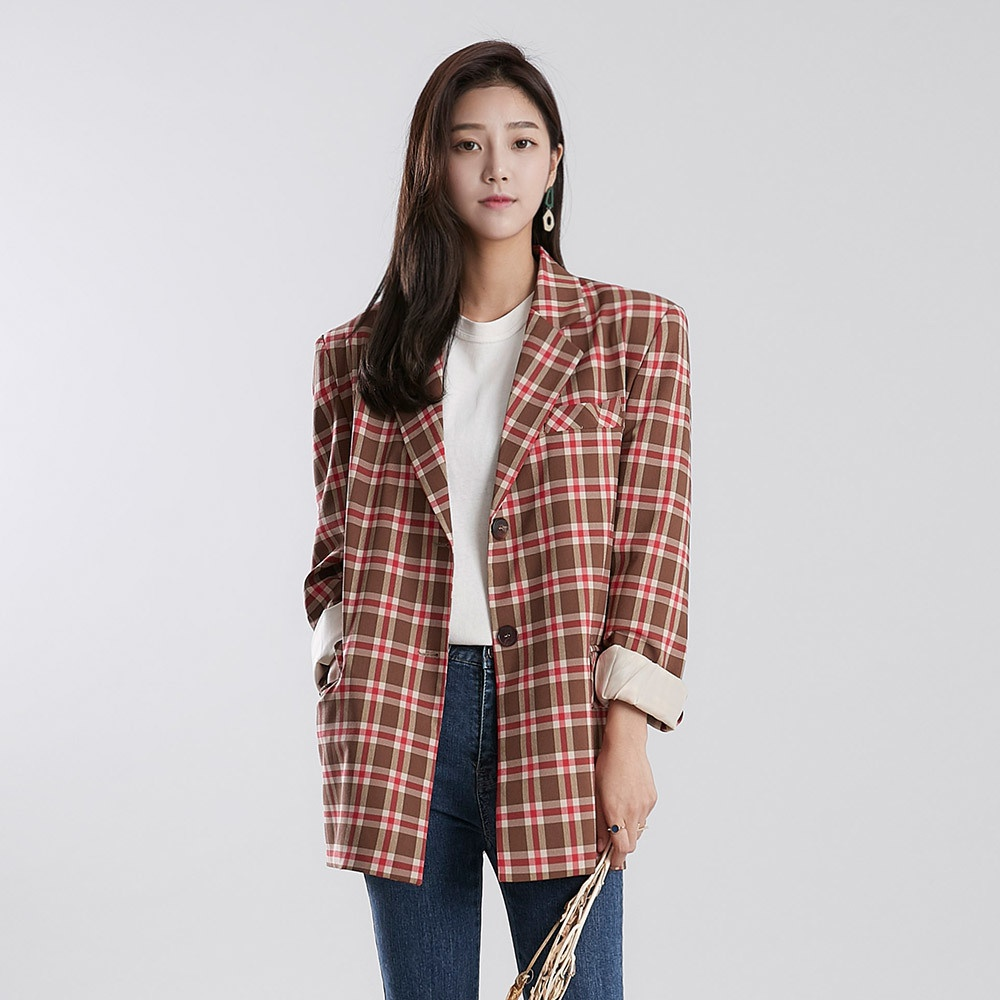 [ROCOSIX官方旗艦店]復古時尚格紋西裝外套