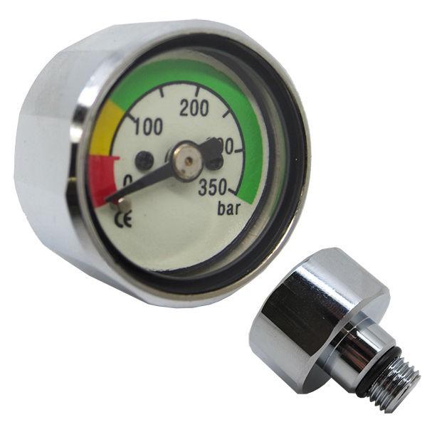 全長: 30 MM X 最大外徑 28 MM。 使用在備用支援或二次檢測氣瓶壓力的儀錶,直接的鎖在調節器或小氣瓶一級頭上,使用在無線電腦錶的氣瓶殘壓確認、小型備用氣瓶或減壓供氣站的殘壓檢測,精簡無高壓
