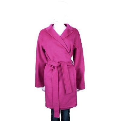 GUCCI 桃紅色羊毛綁帶設計長版大衣
