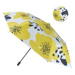 【2mm】100%遮光 提花杜鵑黑膠降溫手開傘 (芥黃)