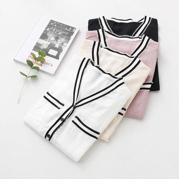 VK精品服飾 韓系寬鬆小香風時尚洋氣V領襯衫長袖上衣