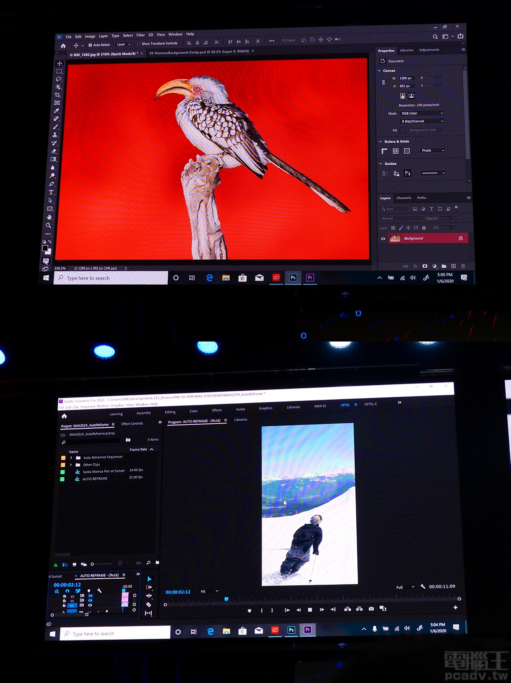 Adobe 軟體能夠有效利用 Intel 處理器加速功能,原廠專業講師 Jason Levine 於現場示範透過 Intel 處理器特性,Photoshop 能夠快速選取主體邊緣羽毛不規則狀而難以去背的鳥類,或是 Premiere Pro 分析影片內容,在變更影片畫面比例的同時,自動將主角自動置於畫面中央。