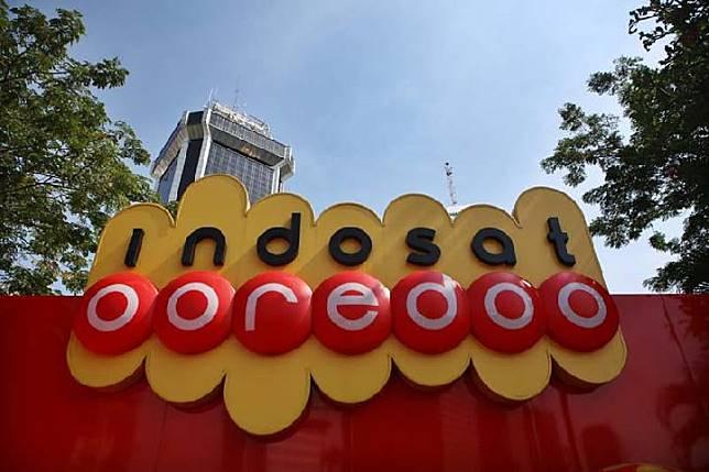 Gedung Indosat ooredoo di kawasan Jalan Medan Merdeka Barat, Jakarta.