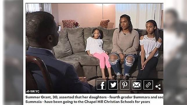 美國俄亥俄州2名就讀小學的女童,日前遭校方開除,母親十分不滿。(圖/翻攝自每日郵報)