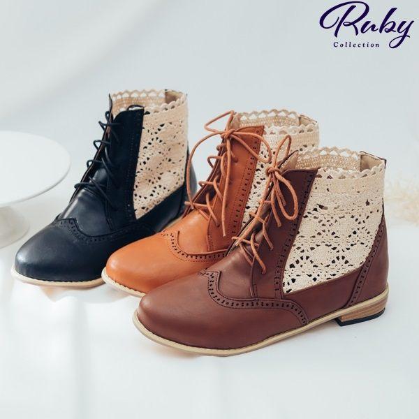 靴子 鏤空蕾絲拼接皮革綁帶蝴蝶結短靴-Ruby s露比午茶