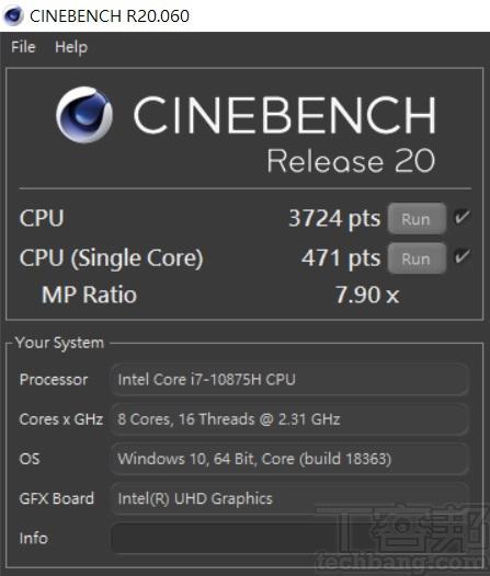 於 CINEBENCH R20 測試中,多核心為 3,724 pts,單核心為 471pts,多、單核心的效能差距倍數為 7.90x。